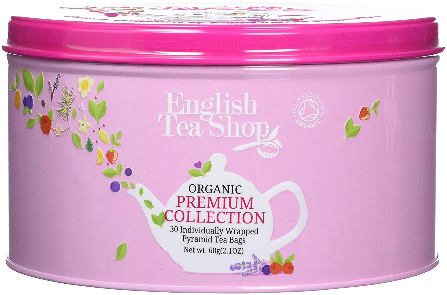 English Tea Shop Round Assortment Pink Nylon Pyramid Tin, 30 ct
