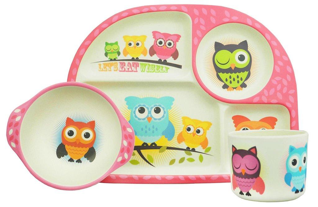 Wonderful BimBamBoo Kids Dining Set Owls 3tk