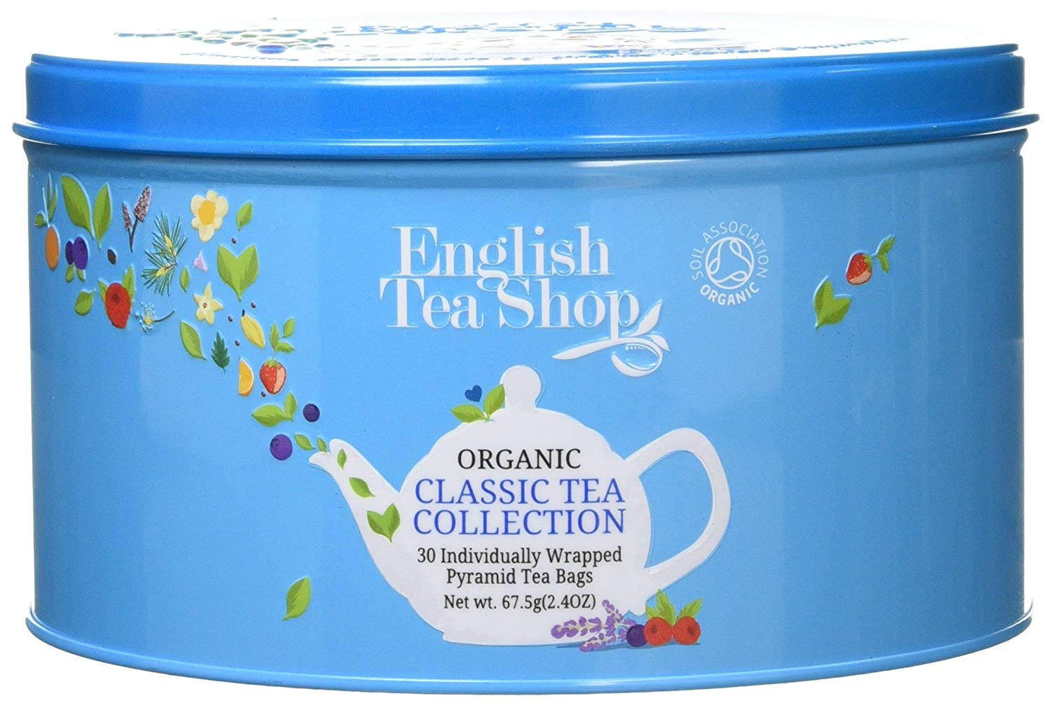 English Tea Shop Round Assortment Blue Nylon Pyramid Tin 30tk