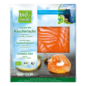 Organic Smoked Salmon fillet 70g frozen