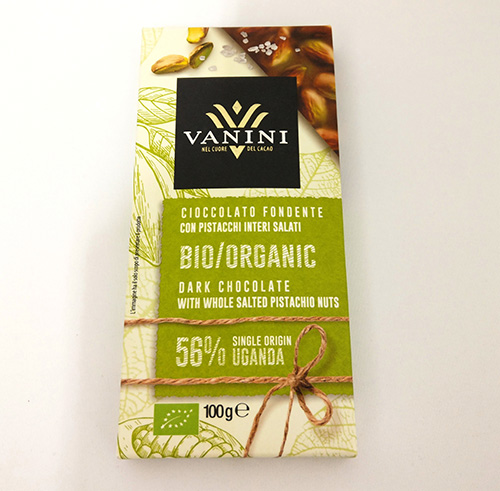 Organic Vanini Chocolate Dark 56% Uganda with whole salted pistachios