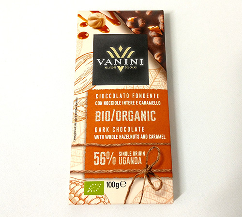 Organic Vanini Chocolate Dark 56% Uganda with whole hazelnuts and caramel