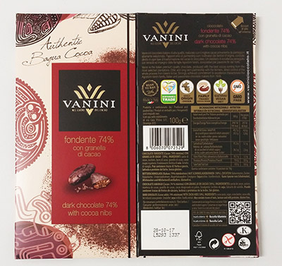 Dark chocolate bars cocoa 74% with cocoa nibs-100 g