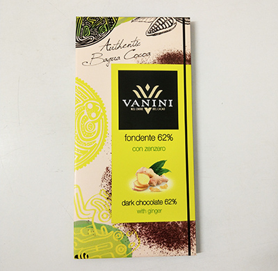 Vanini Dark chocolate bar cocoa 62% with ginger 100g
