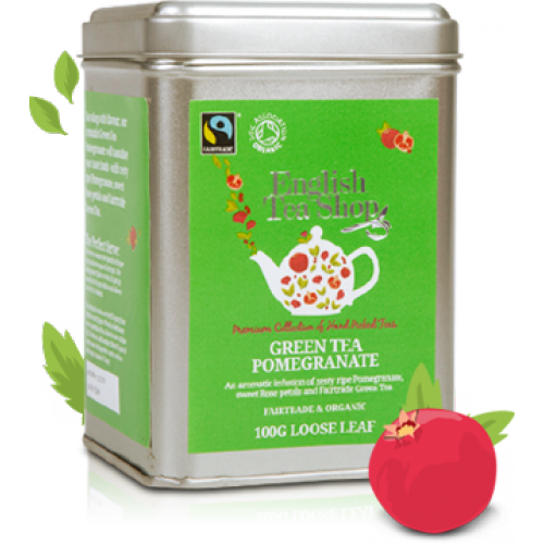 Organic Green tee pomegranate 100g loose tea