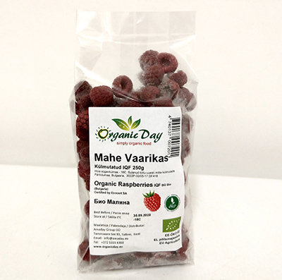 Organic Raspberries (whole and part) frozen 250g