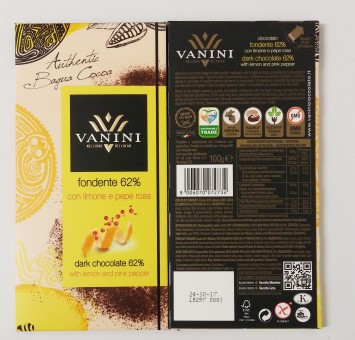 Vanini Dark chocolate 62% with lemon and pink pepper 100g